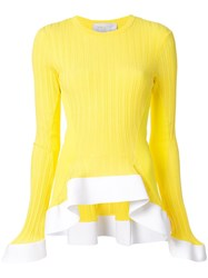 Esteban Cortazar Ruffled Hem Jumper Yellow