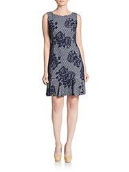 Betsey Johnson Floral A Line Dress Navy