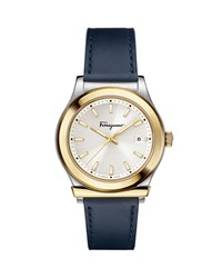 Salvatore Ferragamo 1898 3 Hand Date Watch With Leather Strap Silver Gold Blue