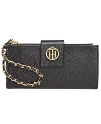Tommy Hilfiger Leather Chain Wristlet Wallet Black