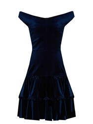 Emilio De La Morena Frill Off The Shoulder Velvet Dress Navy