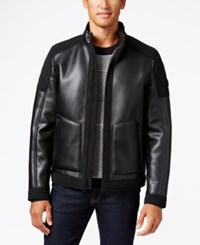 Michael Kors Men's Faux Leather Faux Shearling Lined Moto Jacket Black