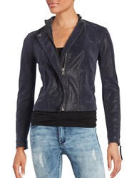 Free People Faux Leather Moto Jacket Blue