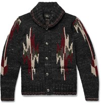 Rrl Shawl Collar Wool And Silk Blend Jacquard Cardigan Black