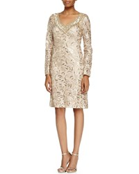 Sue Wong Long Sleeve Sequined Lace Cocktail Dress Beige