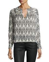 Isabel Marant Split Neck Ikat Print Blouse White