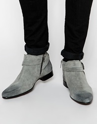 Asos Chelsea Boots In Grey Suede With Buckle Strap