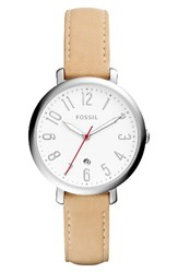 Fossil Women's Jacqueline Leather Strap Watch 36Mm Tan White Silver