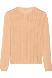 Miu Miu Lace Trimmed Cashmere And Silk Blend Sweater Orange