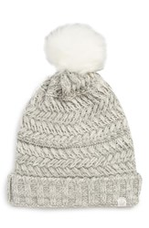 Treasure And Bond Cable Knit Beanie With Faux Fur Pom Grey Grey Monument