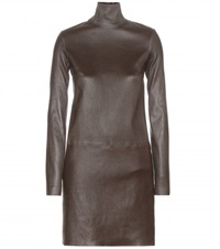 Calvin Klein Leather Turtleneck Dress Brown