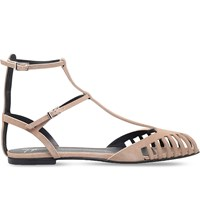 Giuseppe Zanotti Laser Cut Caged Suede Flat Sandals Taupe Comb