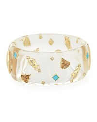 Alexis Bittar Clear Lucite Bangle Bracelet W Swarovski Crystal Accents Women's