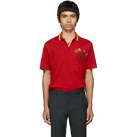 Versace Red Embroidered Medusa Polo