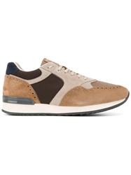 Eleventy Contrast Panel Sneakers Brown