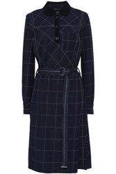 Piazza Sempione Woman Belted Checked Woven Dress Navy