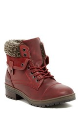 Coolway Beli Fleece Lined Lace Up Boot Red