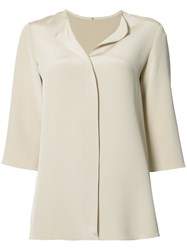 Peter Cohen Split Neck Top Nude Neutrals