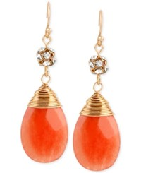 Macy's M. Haskell Gold Tone Coral Faceted Stone Wire Wrapped Drop Earrings
