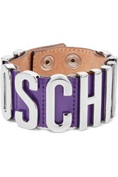 Moschino Patent Leather And Silver Tone Bracelet Purple