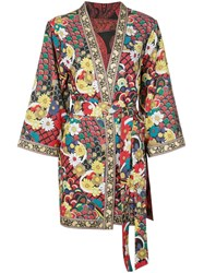 Alice Olivia Floral Print Belted Jacket Multicolour