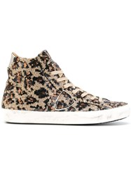 Philippe Model Sequined High Top Sneakers Leather Sequin Rubber Brown