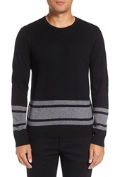 Michael Stars Men's Stripe Wool Blend Sweater Black Derby Grey