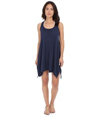 Lucky Brand Bloom Village Dress Cover Up Indigo Women's Swimwear Blue