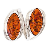 Be Jewelled Double Navette Amber Ring Cognac