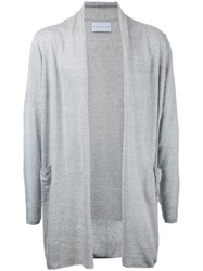 Estnation Long Open Cardigan Men Linen Flax L Grey