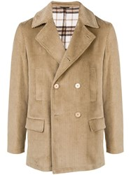 Daniele Alessandrini Corduroy Double Breasted Jacket Brown