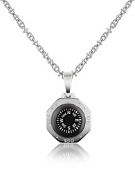 Forzieri Stainless Steel Compass Pendant Necklace Silver