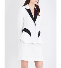 Thierry Mugler Contrast Lapels Twill Jacket Off White Black