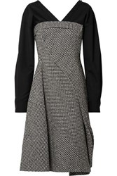 Adeam Layered Houndstooth Wool Blend And Cotton Blend Midi Dress Gray