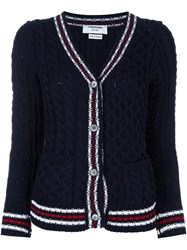 Thom Browne Chunky Cable Knit Cardigan Blue