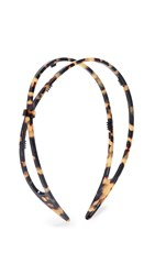 Alexandre De Paris Hard Headband Black Brown Tortoise