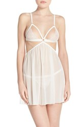 Women's Honeydew Intimates 'Lucy' Open Cup Babydoll And G String White