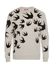 Mcq By Alexander Mcqueen Flocked Velvet Swallow Print Sweater Grey Multi
