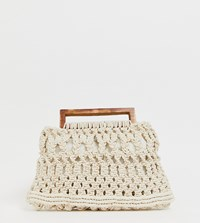 Glamorous Exclusive Crochet Grab Bag With Wooden Handles Cream