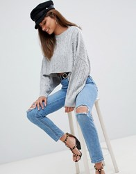 Ax Paris Cable Knit Cropped Jumper Grey
