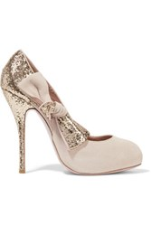 Red Valentino Redvalentino Bow Embellished Glittered Suede Pumps Blush