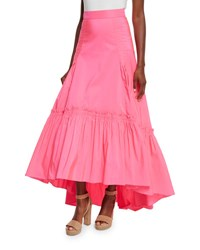 Peter Pilotto Long Bustled Taffeta Skirt Bright Pink Pink Bright