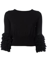 Ermanno Scervino Tiered Sleeve Jumper Women Polyamide Polyester Viscose 42 Black