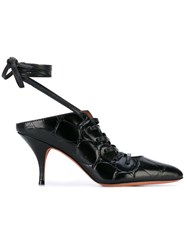 Givenchy Lace Up Mules Women Leather 39 Black