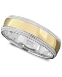 Macy's Men's 14K Gold And 14K White Gold Ring Milgrain Edge Size 6 13