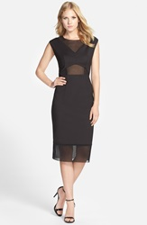 French Connection 'Glass' Mesh Inset Sheath Dress Black