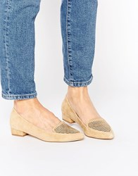Ravel Point Leather Flat Shoes Tan