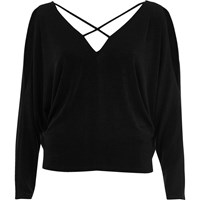 River Island Womens Black Cold Shoulder Strappy Batwing Top