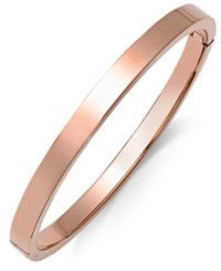 Macy's Polished Smooth Bangle Bracelet In Rose Ion Plated Stainless Steel Rose Gold