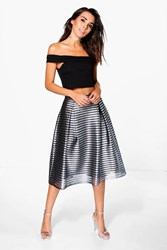 Boohoo Nova Metallic Full Midi Skirt Black